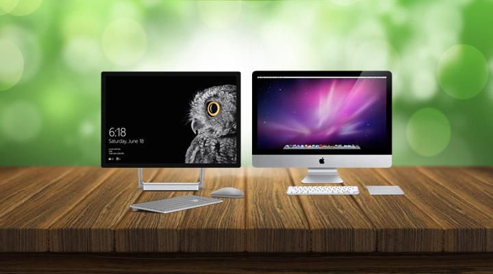 Microsoft Surface Studio and Apple iMac
